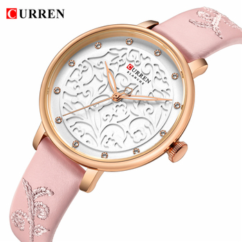 Top Brand CURREN Women Watches Pink Leather Wristwatch with Rhinestone Ladies Clock Fashion Luxury Quartz Watch Relogio Feminino - discount item  55% OFF Women's Watches