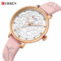 Top Marca CURREN relógio de Pulso Das Mulheres Relógios De Couro Rosa com Strass Senhoras Relógio de Luxo De Moda Relógio de Quartzo Relogio feminino