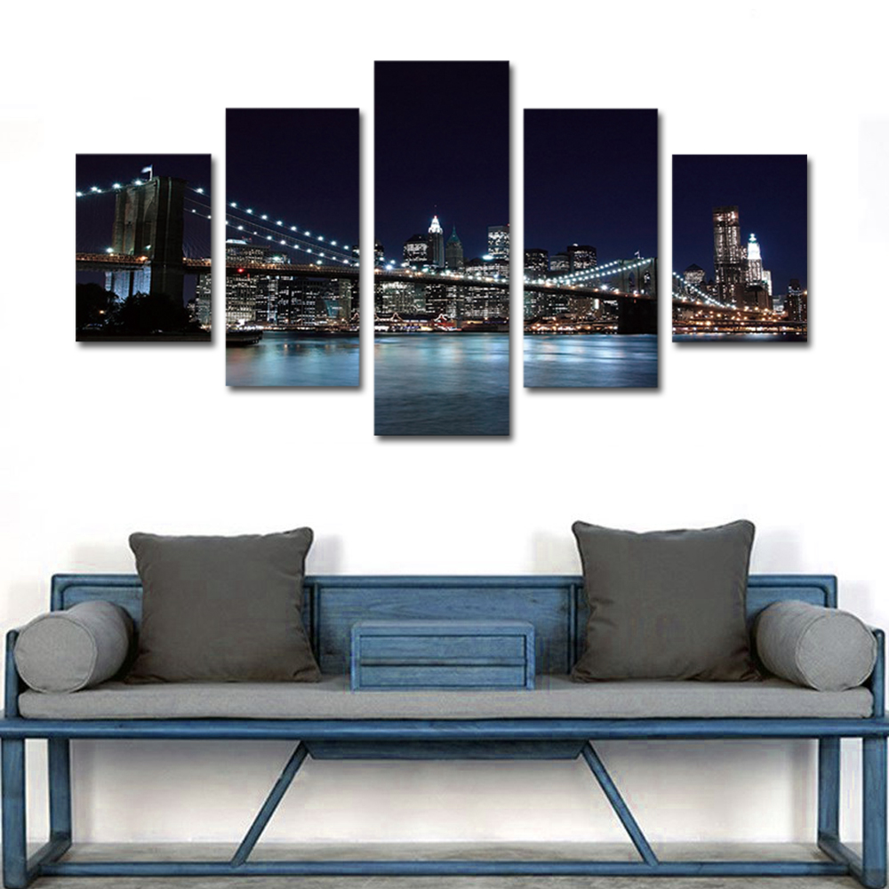 Unframed 5 panel HD Canvas Wall Art Giclee Painting Bridge Night Scene Landscape For Living Room Home Decor Unframed