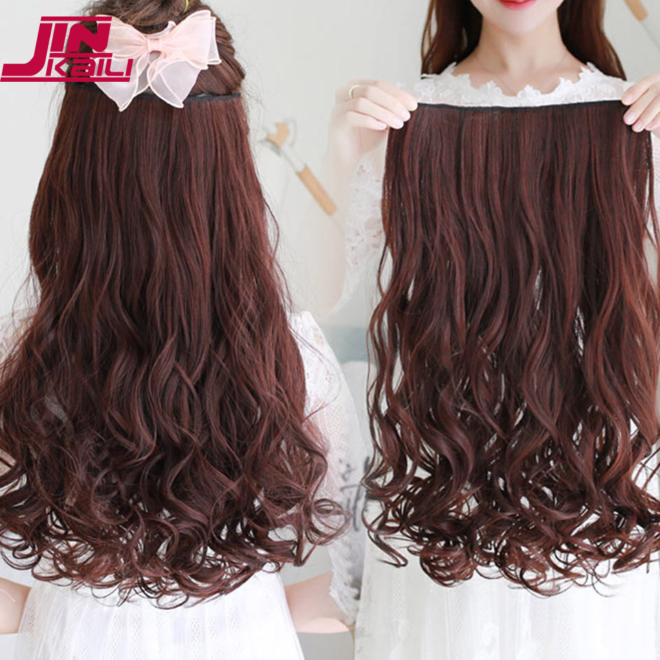 JINKAILI WIG Long Wavy 5 Clip In Hair Extensions Heat Resistant Natural Synthetic Fake Hairpieces False Hair Various sizes