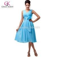 Бесплатная Доставка складе Grace Karin Женщины Моды Фиолетовый Голубой Глубокий V шея Короткая Вечерние Платья 6015