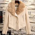Women Coat Deerskin Velvet Thicken Lamb's Wool Short Jacket Real Rabbit Fur Collar Winter Collect Woman Clothing Windproof