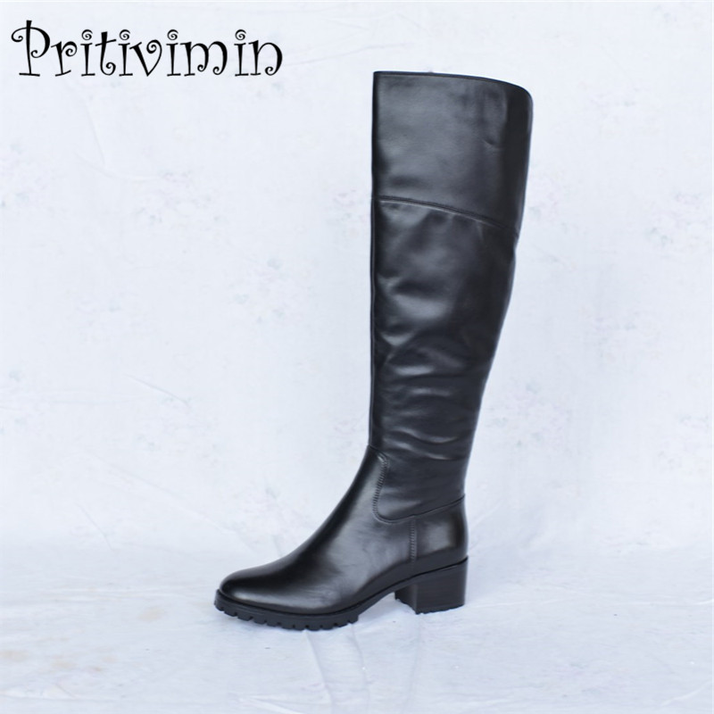 2017 Ladies genuine leather knee high boots winter woman warm lined handmade shoe female thick heel riding boots Pritivimin FN37