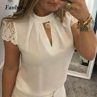 Fanbety 2019 Fashion Women's Blouse Lady Summer Office bow tie solid blusa Tops Elegant Sexy Lace Patchwork Chiffon blouses 5XL