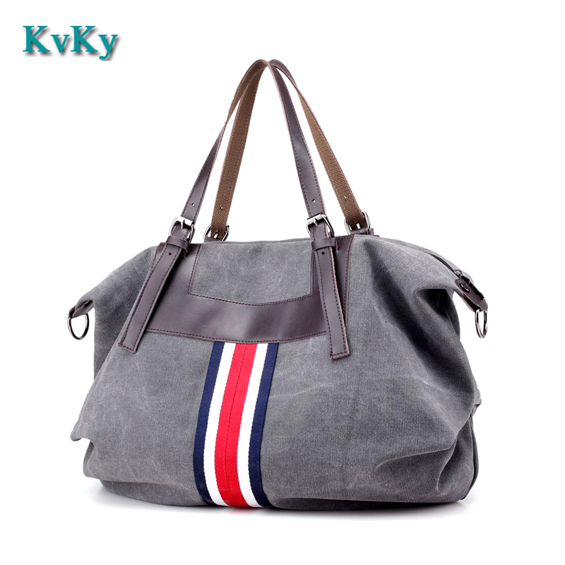 KVKY Canvas Bag Striped Women Handbags Ladies Shoulder Bag New Fashion Sac A Main Femme De Marque Bolsos Mujer Girl Tote Bag игровые фигурки 1 toy набор фигурок в мире животных лягушки 12 шт