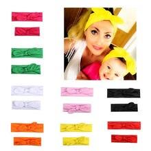 Mixiu 2 pçs mãe & bebê turbante acessórios da faixa de cabelo da criança recém-nascido torção nó headbands pai-filho família headwear