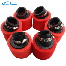 цена на Nordson Red Bend Elbow Neck Foam Air Filter Sponge Cleaner Moped Scooter Dirt Bike Motorcycle for 35mm 38mm 40mm 42mm 45mm 48mm