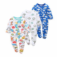 100% Cotton Baby Footie Pajamas with Print Button Front Baby Sleep and Play 3 Pack 0 9Months