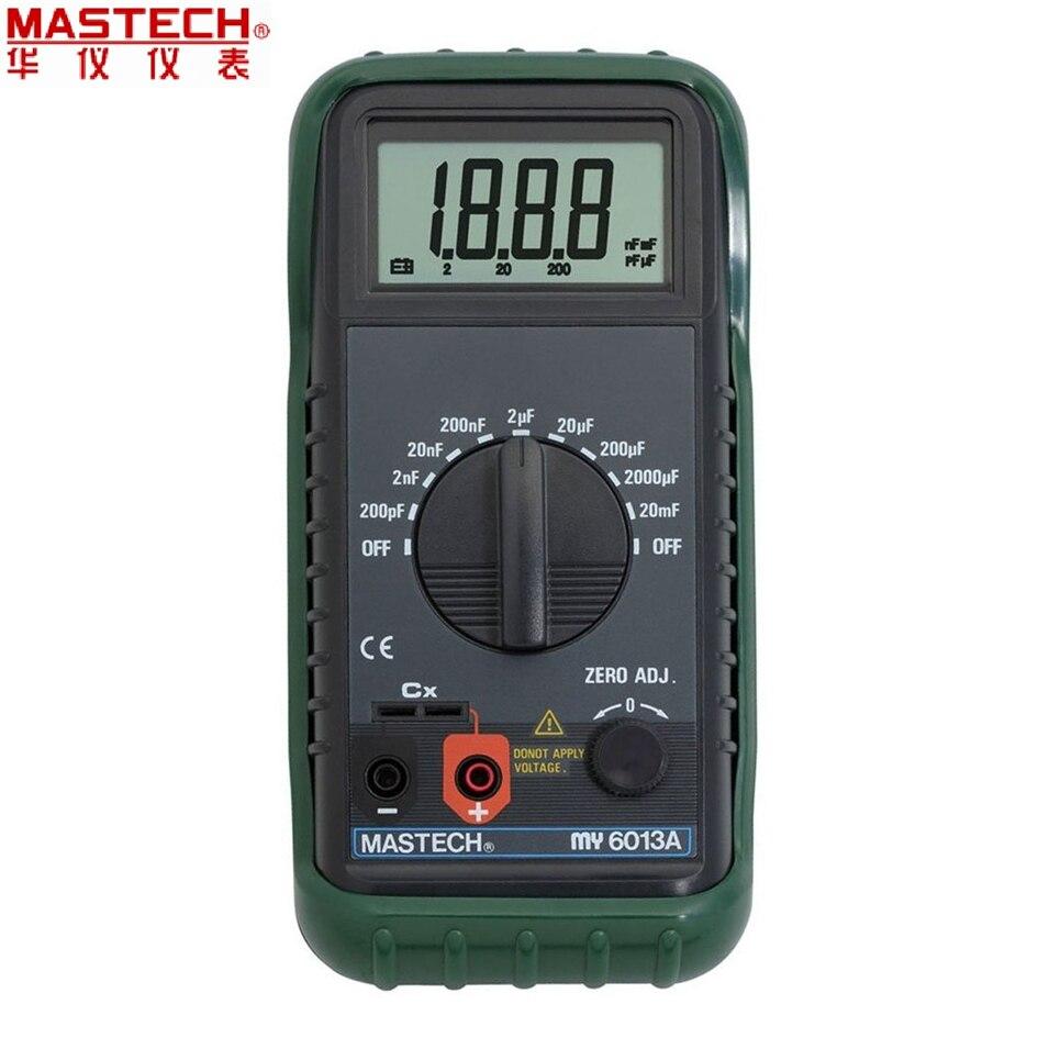 1pcs MASTECH MS6013A (MY6013A) 1999 شمارش قابل حمل 3 1/2 ظرفیت سنج دیجیتال اندازه گیری تستر 200pF تا 20mF عمده فروشی
