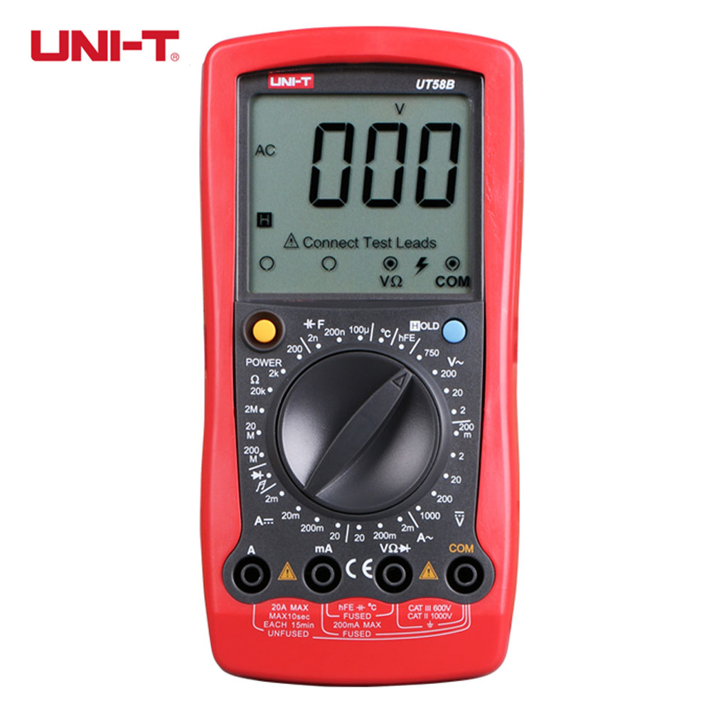 UNI-T UT58B Ammeter Volameter DMM Digital Multimeters DC AC Voltage Current Resistance Capacitance Meter Tester Multitester hj6y9 genuine for dell lcd display assembly matte xps 13 9350 p54g series lcd led glass complete display digitizer non touch