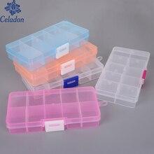 Лидер продаж! 10 слотов регулируемая коробка для хранения Чехол Ремесло органайзер для бисера Мульти сетки прозрачный пластиковый ящик для хранения портативный