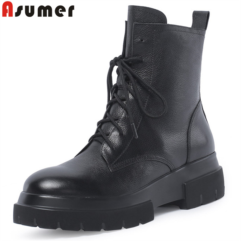 ASUMER 2018 fashion autumn winter boots round toe lace up ankle boots for women round toe flat platform genuine leather boots autumn winter women boots fashion flat heel casual zipper ankle boots genuine leather round toe platform martin boots k573