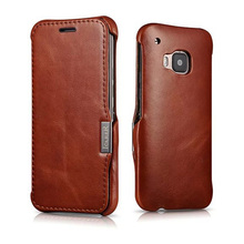 For HTC ONE M9 Cases Luxury Vintage Series Genuine Leather Cover for HTC M9 Red Brown Flip Cases with High Qulity Real Leather