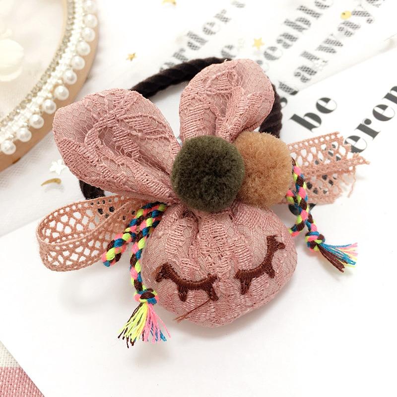 Korea Flower Cloth Rabbit Hair Accessories Hair Bows Elastic Hair Bands Rubber Band Hair Tie Headbands For Girls
