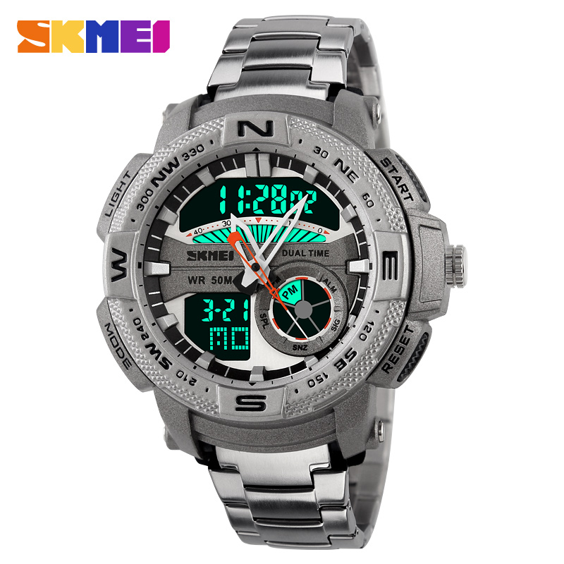 Watches men Hot Sell SKMEI luxury brand Full Steel Quartz Clock Digital LED Watch Army Military Sport watch relogio masculino new arrival quartz watch skmei causal military watches men causal watches men luxury brand relogio masculino full steel clock
