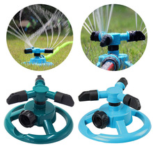 Garden 360 Degree Automatic Rotating Lawn Water Spray Disc Rotary Grass Sprinkler Land Three-arm
