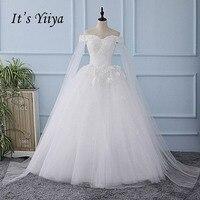 It's YiiYa New Off Shoulder Sweetheart Shawl Wedding Dress Appliques Tulla Bride Wedding Gowns Vestidos De Novia Casamento XL629