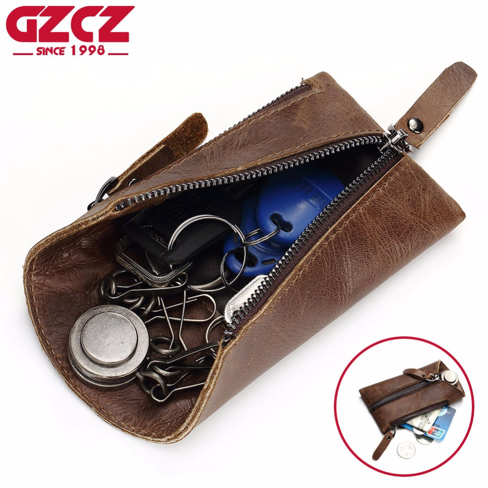 GZCZ Genuine Leather Wallet Men Fashion Mini Key Wallet Purse High Quality Zipper Pouch Small Vallet Portomonee Male Clutch