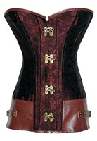 Adogirl New Hot Sale White Black Red Brown Brocade Steampunk Corset With Clasp Fasteners Women Sexy
