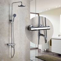 all copper thermostatic shower faucets Luxury auto thermostat control chrome faucet shower set Thermostatic Faucets