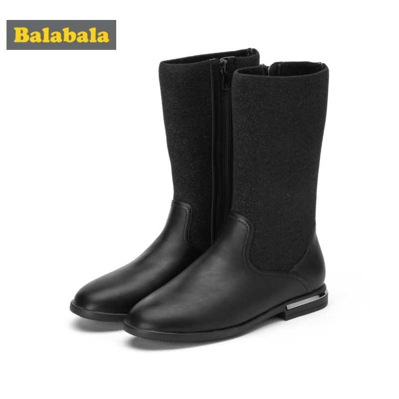 Balabala Girls PU Leather Fleece-Lined Glittery High Fly-Knit Sock Boots For Teenage Girl Zip Closure At Side Elevated Heel