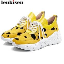 Lenkisen Весна краткий Классический leopard из натуральной кожи из конского волоса на толстой подошве дышащие на шнуровке кроссовки