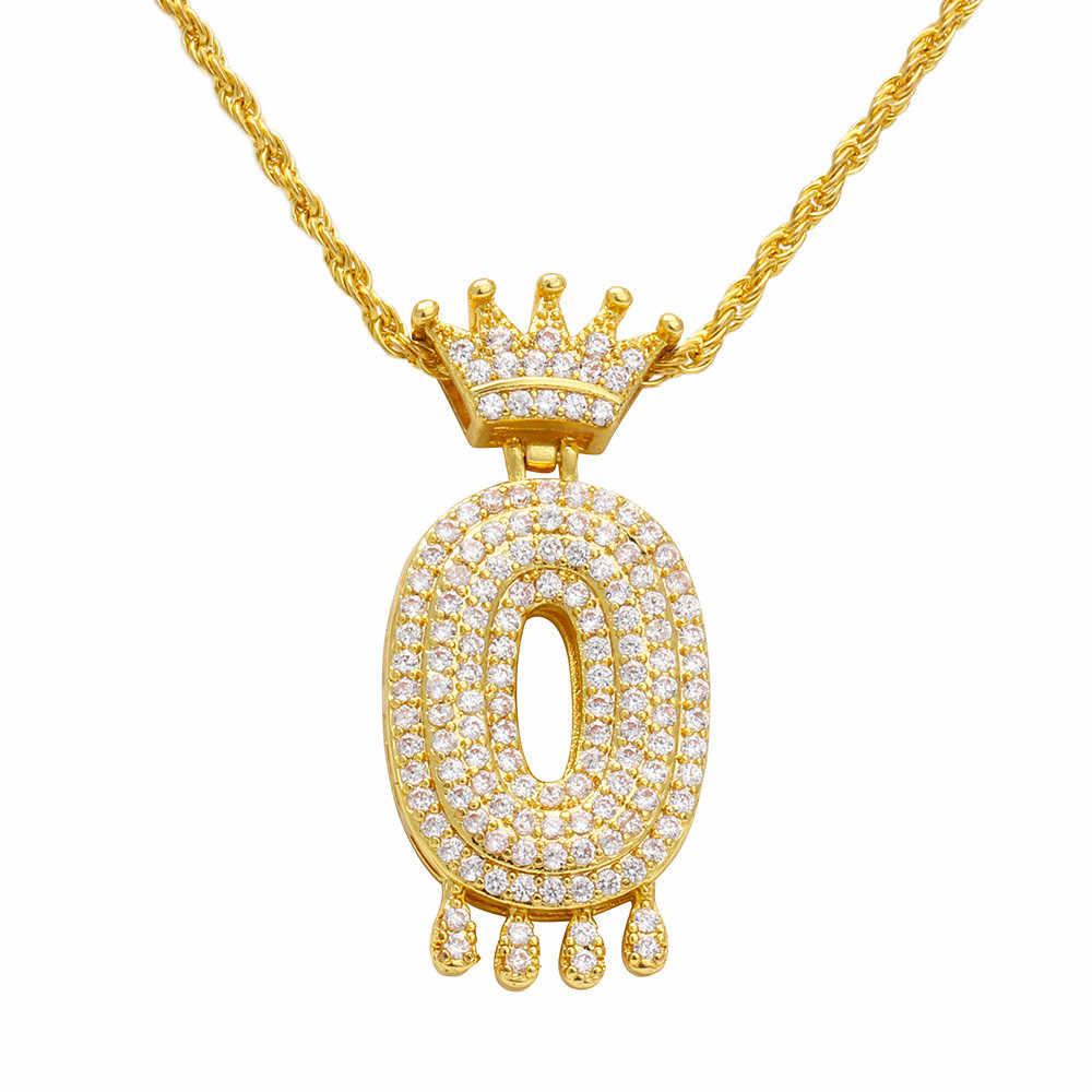 Mewah Zirkon Tetes Huruf Rantai Liontin Kalung Mahkota Alpha Liontin Kalung Pria dan Wanita Emas Perak Hadiah Perhiasan # ZC