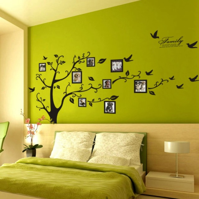Free shipping large 200 250cm 79 99in black 3d diy photo for Diy family tree wall mural