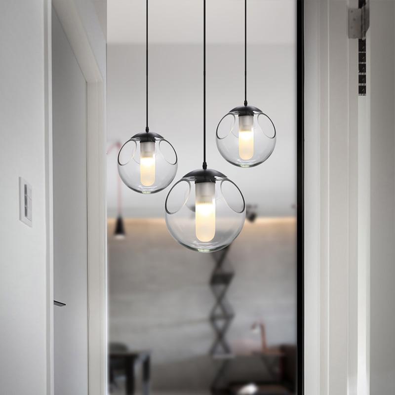Nordic criativo crianças quarto linha de bola de vidro moderno restaurante bar lustre bolha personalidade única cabeça da lâmpada - 5