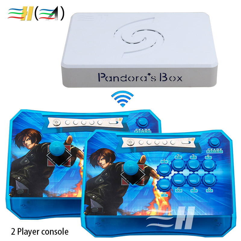 Baru 2 Pemain Kotak Pandora 6 1300 in 1 Wireless Arcade Stick Controller Panel Memerangi USB / HDMI / VGA Terhubung ke PC PS3 TV
