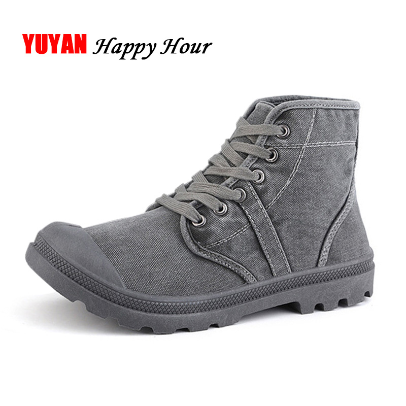 2019 Autumn Early Winter Boots Men Canvas Shoes High Top Casual Shoes Fashion Men's Boots Male Brand Ankle Botas A215