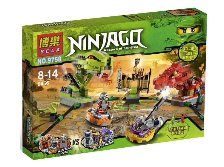 ФОТО 409pcs BELA 9758 Phantom Ninja Spinner Battle Snake Dragon Building Blocks Bricks Figures Toys