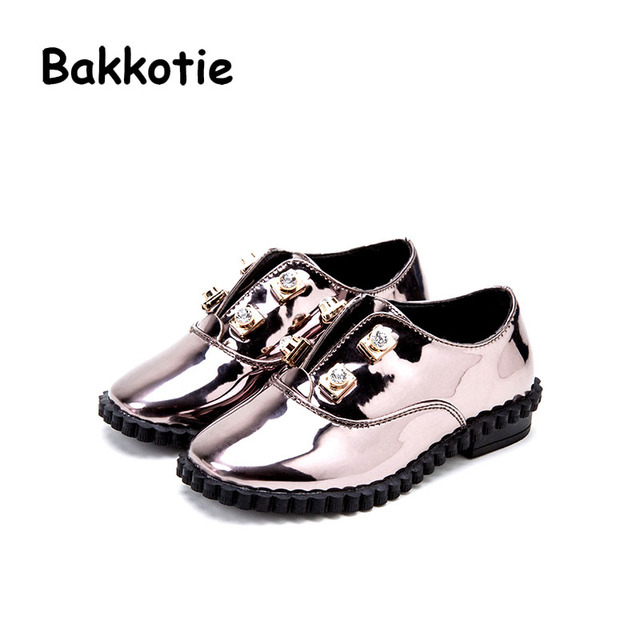 Bakkotie 2017 New Fashion Children Spring Autumn Baby Casual Kid Brand Breathable Leisure Girl Rhinestone Patent Leather Flats
