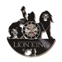 الأسد الملك موضوع 3d سجل ساعة الجوف جولة الإبداعية الفينيل ديكور المنزل شنقا ساعة الحائط هدية للأطفال