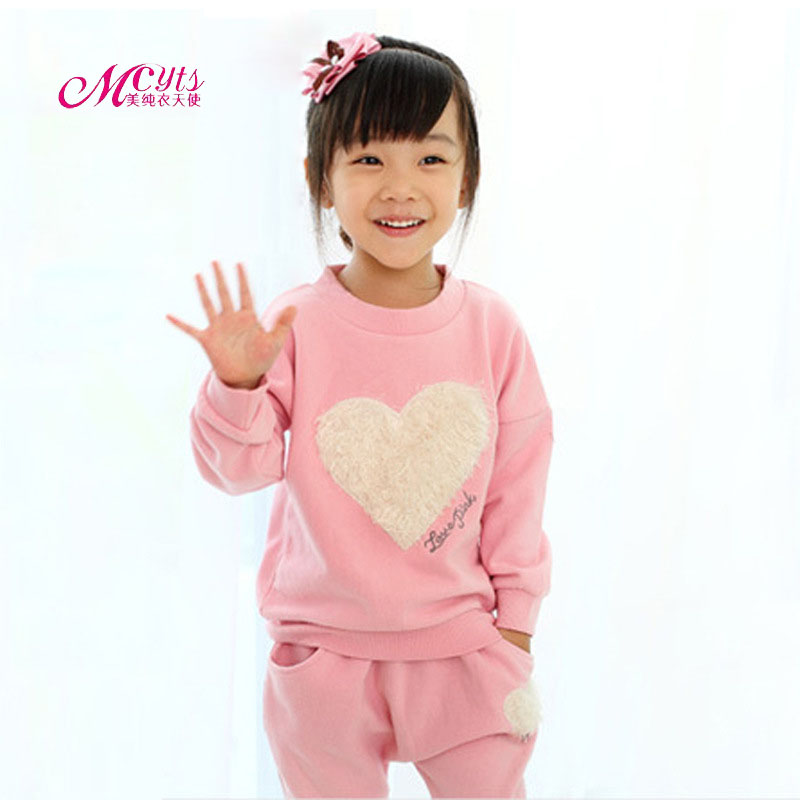 Spring Autumn Love Girls Clothes Sets Cotton Kids Sport Suit For Girl Baby Long Sleeve Children Clothing Set 3 4 5 6 7 8 Years free shipping children clothing spring girl three dimensional embroidery 100% cotton suit long sleeve t shirt pants