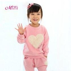 Amor primavera Outono Meninas Roupas Define Crianças De Algodão Terno Do Esporte Para A Menina Luva Longa do bebê Roupa Das Crianças Set 3 4 5 6 7 8 anos