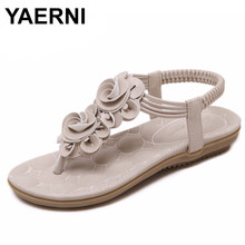 YAERNI New Women Summer Casual Bohemia Flat Sandals Shoes Woman Flower Flip flop Sweet Beach Sandals Shoes Size 35-41(China)
