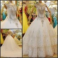 2017 Newest Design Super Limited Luxury Nobel Ball Gown V neck Tulle/Netting Crystal Fine Bride Wedding Dress/Wedding Gown 80