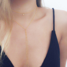 10pcs Wholesale Vintage Simple Gold Silver Color Chain Choker Necklace Long Beads Tassel Layered Necklace for Women Collar delicate layered tassel necklace for women