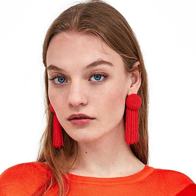 JERPVTE Hot Sale ZA Brand Red beads Tassel Earrings For Women 2018 New Statement Dangle Long Earrings Jewelry 2018 wholesale