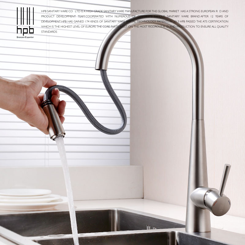 HPB Brass Brushed Chrome Pull Out Deck Mounted Hot And Cold Water Kitchen Mixer Tap Pb-free Sink Faucet torneira cozinha HP4101 hpb pull out spray kitchen chrome brass swivel faucet spout sink mixer tap deck mounted hot and cold water single handle hp4102