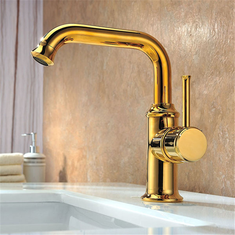 Free shipping Bathroom Deck Mounted Basin Vessel Sink Faucet Golden Basin Mixer Taps Single Handle deck mounted golden brass swan basin faucet single handle countertop sink mixer