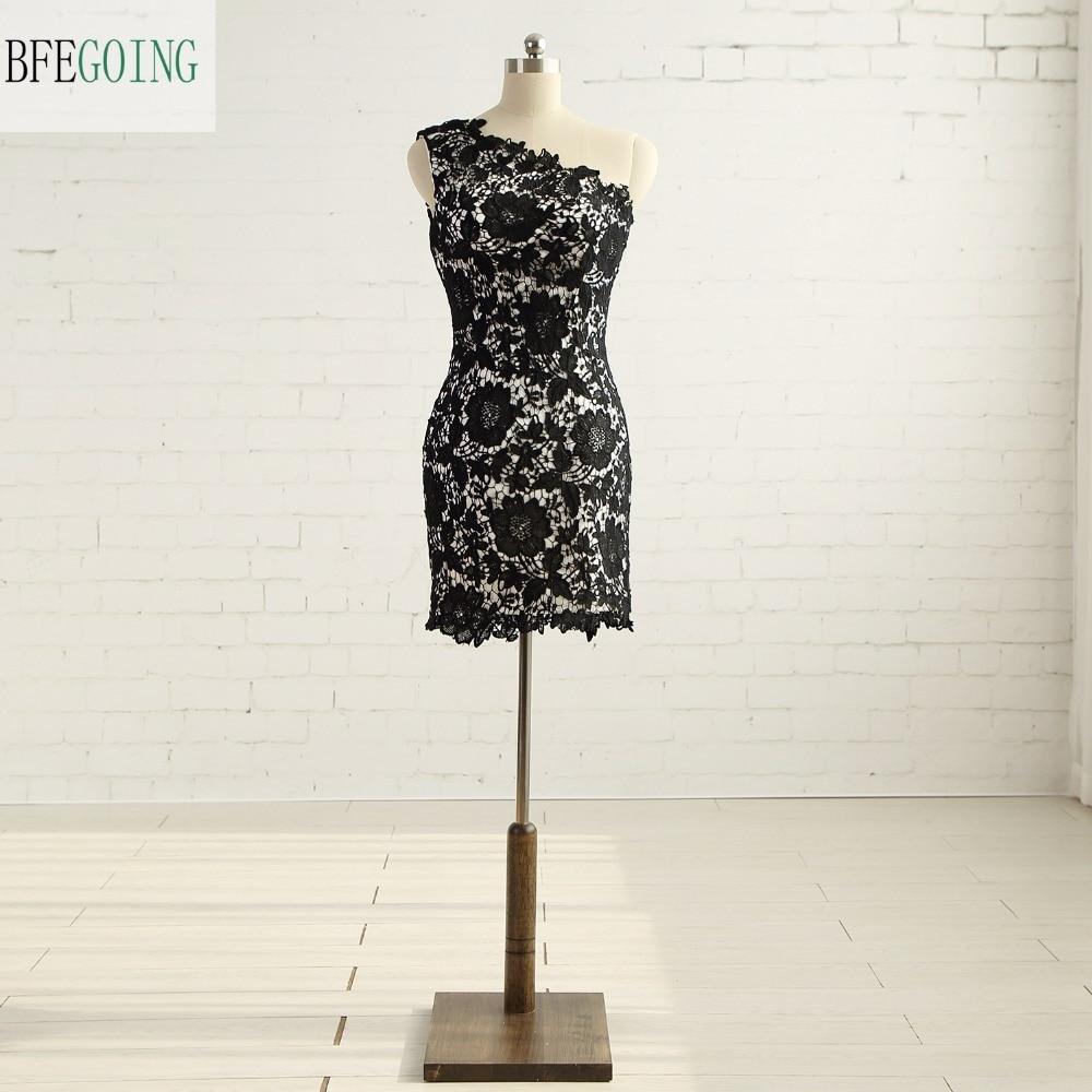 Black Lace Sheath Formal   Bridesmaid     Dress   Knee-Length One-Shoulder Real/Original Photos Custom made