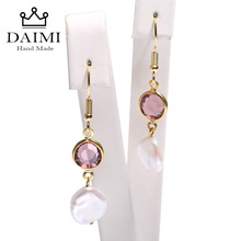DAIMI 10-11mm Keshi Pearl Earrings Amethyst Dangle Earrings 925 Silver Earrings Sway Crystal &Pearl Stylish Jewelry Length 2.5cm недорого