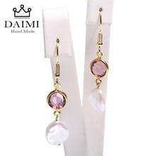 DAIMI 10-11mm Keshi Pearl Earrings Amethyst Dangle Earrings 925 Silver Earrings Sway Crystal &Pearl Stylish Jewelry Length 2.5cm daimi shining pink keshi pearl earrings 10 11mm asymmetrical earrings elegant 925 silver earrings