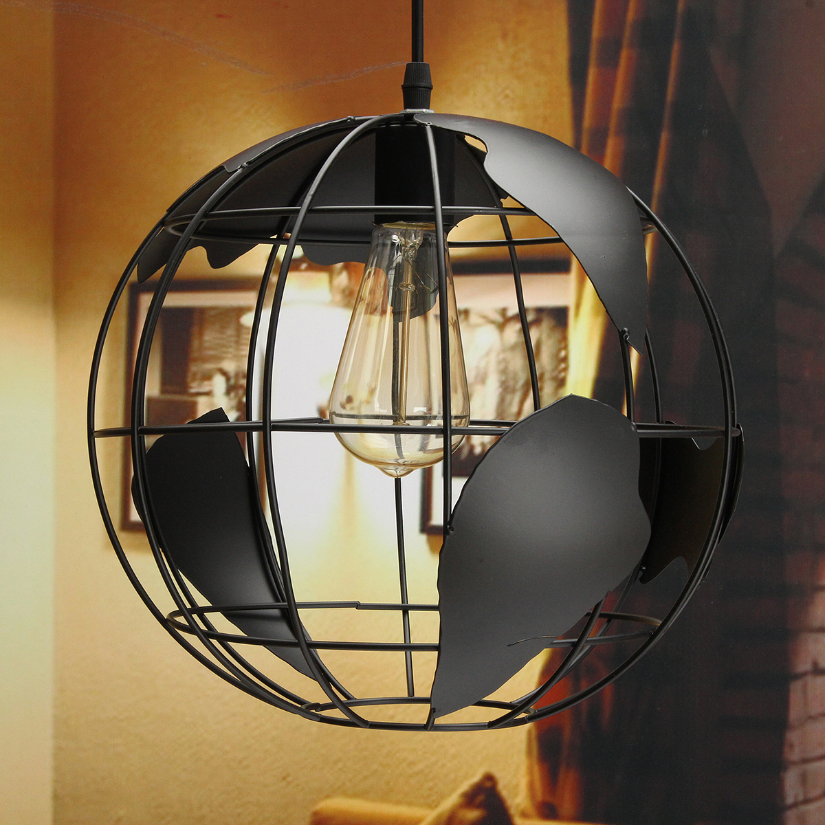 1pcs E27 Bulb Globe Earth Shaped Ceiling Lamp Hanging Pendant Light Plate Restaurant Coffee Indoor Lighting Decor Dome Light With The Most Up-To-Date Equipment And Techniques