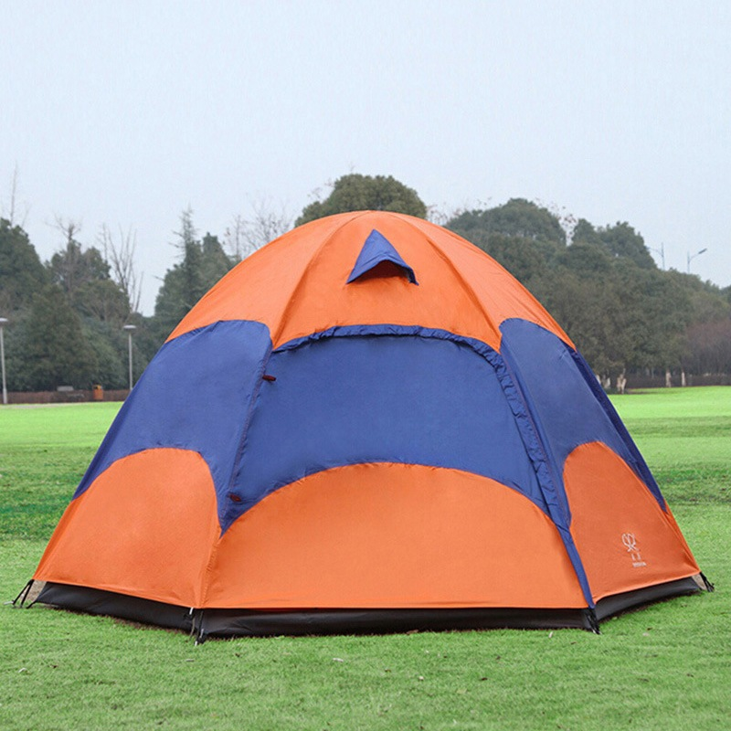 ФОТО Outdoor Large Camping Tent Double Layer Anti-UV Waterproof Sunshade Travel Hiking Tent 5-8 Person One Bedroom Family Party Tent