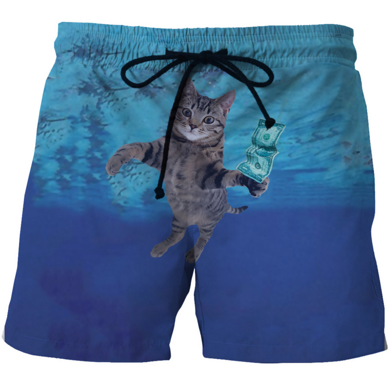 Cloudstyle 2018 New Fashion 3D   Board     Shorts   Men Dollar Cat 3D Funny Print Casual Drawstring Summer Vacation Beach Breathable