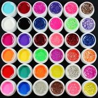 36 Stks Mix Kleur Pure Glitter Hexagon Sheet UV Builder Gel Voor Nail Art Tip Set
