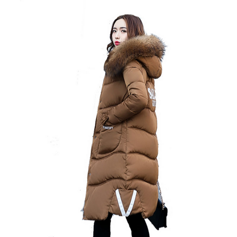 2017 Women Winter Coat Fur Collar Hooded Long Sleeve Jackets Slim Thick Winter Jacket Woman's Down Cotton Parka Plus Size QH0242 2017 women winter coat fur collar hooded long sleeve jackets slim thick winter jacket woman s down cotton parka plus size qh0242